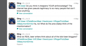 Tweets about beer blogging