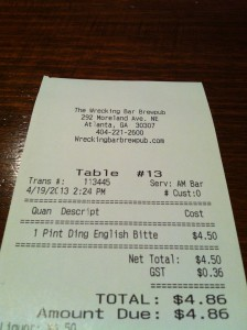 Ding on the tab